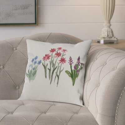 Kaylor Flower Trio Indoor/Outdoor Throw Pillow Color: Light Blue, Size: 20 x 20