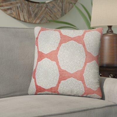 Aurick Geometric Cotton Throw Pillow Color: Coral