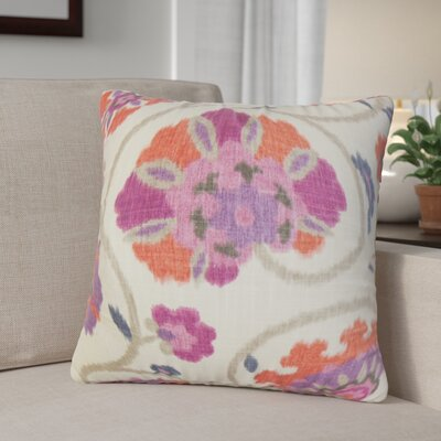 Aspendale Floral Cotton Throw Pillow Cover Color: Purple