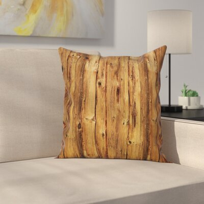 Timber Wooden Forest Trees Art Square Pillow Cover Size: 16 x 16