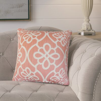 Adalric Geometric Cotton Throw Pillow Color: Coral