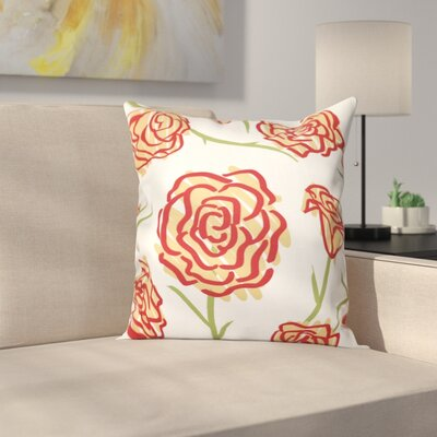 Cherry Spring Floral 1 Print Throw Pillow Size: 26 H x 26 W, Color: Gold