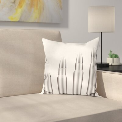 Set of Firearm Bullets Square Cushion Pillow Cover Size: 16 x 16