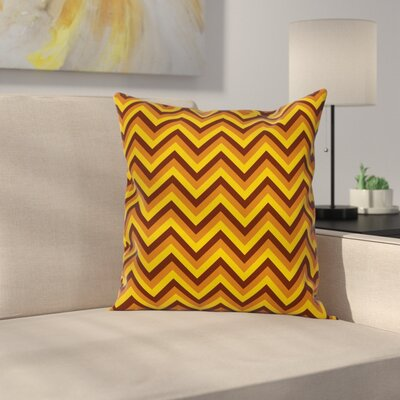 Chevron Classical Brown Square Cushion Pillow Cover Size: 18