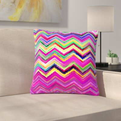 Dawid Roc Colorful Rainbow Chevron Outdoor Throw Pillow Color: Purple/Pink, Size: 18 H x 18 W x 5 D