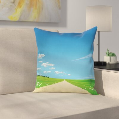Sunny Sky Clouds Daisy Cushion Pillow Cover Size: 18 x 18
