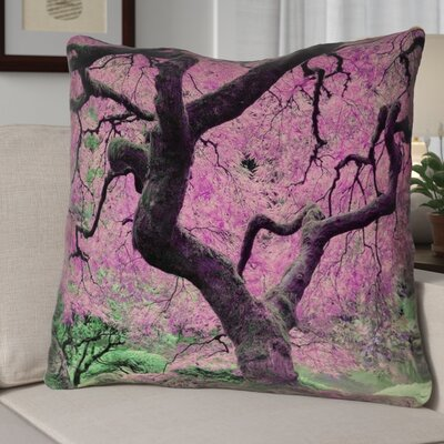 Ghost Train Japanese Maple Tree Square Linen Pillow Cover Color: Pink, Size: 14 x 14