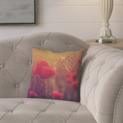 Mariani Butterfly and Rose 100% Cotton Throw Pillow Color: Red/Yellow, Size: 14 H x 14 W