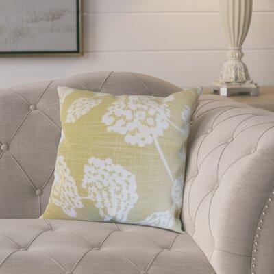 Pieper Floral Cotton Throw Pillow Color: Citron, Size: 18 x 18