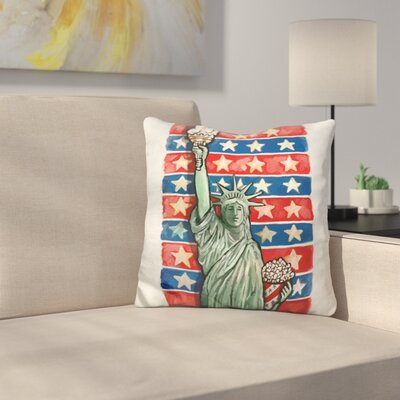 Popcorn Statue of Liberty Throw Pillow