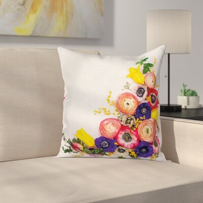 Anemone Festive Floral Square Cushion Pillow Cover Size: 24 x 24