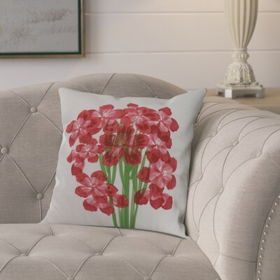 Dever Floral Print Indoor/Outdoor Throw Pillow Color: Red, Size: 20 x 20