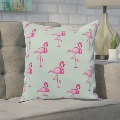 Crosswhite Flamingo Fanfare Multi Animal Print Indoor/Outdoor Throw Pillow Color: Aqua, Size: 16 x 16