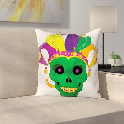 Mardi Gras Scary Skull Mask Hat Square Cushion Pillow Cover Size: 24 x 24