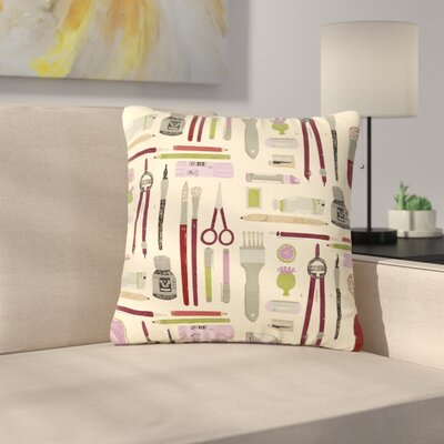 Judith Loske Art Supplies Pattern Outdoor Throw Pillow Size: 18 H x 18 W x 5 D