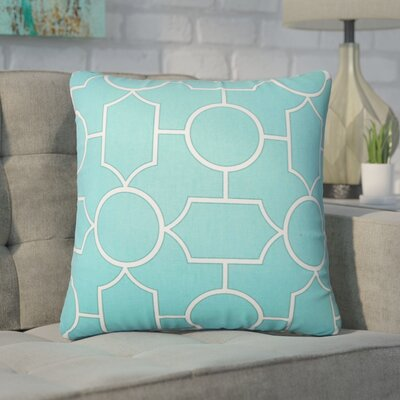 Syrianus Geometric Cotton Throw Pillow Color: Turquoise
