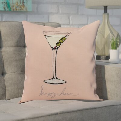 Crosswhite Martini Glass Happy Hour Geometric Print Indoor/Outdoor Throw Pillow Color: Coral, Size: 16 x 16