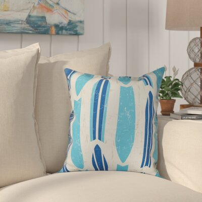 Golden Beach Dean Geometric Outdoor Throw Pillow Size: 18 H x 18 W, Color: Blue
