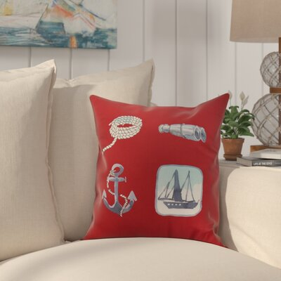 Crider Sea Tools Print Indoor/Outdoor Throw Pillow Color: Red, Size: 20 x 20