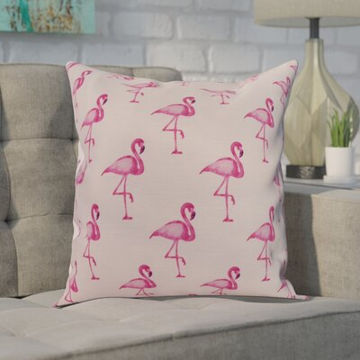 Crosswhite Flamingo Fanfare Multi Animal Print Indoor/Outdoor Throw Pillow Color: Pink, Size: 18 x 18
