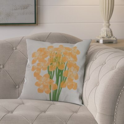 Dever Floral Print Indoor/Outdoor Throw Pillow Color: Yellow, Size: 18 x 18