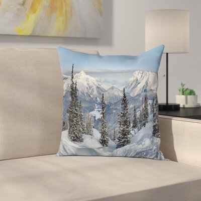 Winter Woodland Snowy Mountain Square Pillow Cover Size: 24 x 24