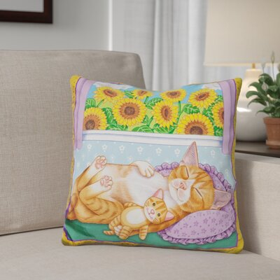 Gibb Sunflowers Kitten Throw Pillow