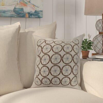 Crider Nautical Geo Square Geometric Print Indoor/Outdoor Throw Pillow Color: Ivory, Size: 18 x 18