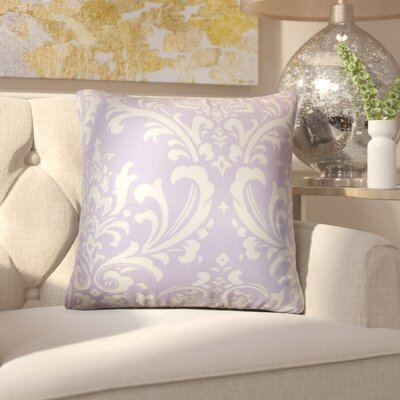 Keeley Damask Cotton Throw Pillow Cover Color: Wisteria