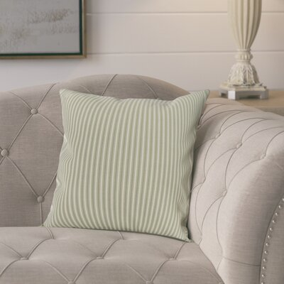 Kaylor Ticking Stripe Indoor/Outdoor Throw Pillow Color: Green, Size: 16 x 16