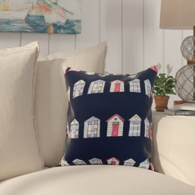 Crider Multi Beach Hut Stripe Print Indoor/Outdoor Throw Pillow Color: Navy, Size: 18 x 18