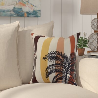 Johannes Stripe Palm Indoor/Outdoor Throw Pillow Color: Gold, Size: 20 x 20