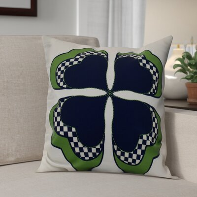 Funky Junky Leaf Clover Throw Pillow Size: 18 H x 18 W, Color: Navy Blue