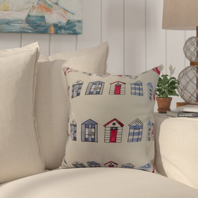 Crider Multi Beach Hut Stripe Print Indoor/Outdoor Throw Pillow Color: Ivory, Size: 16 x 16