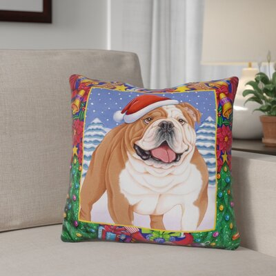 Berkey Christmas Bulldog Throw Pillow