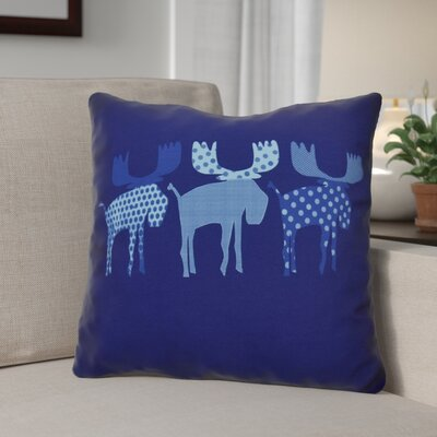 Christmas Decorative Holiday Animal Print Outdoor Throw Pillow Size: 18 H x 18 W, Color: Blue