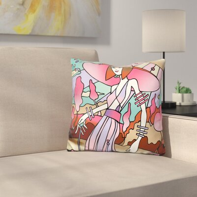Art Deco Lady Stroll Throw Pillow Color: Pink