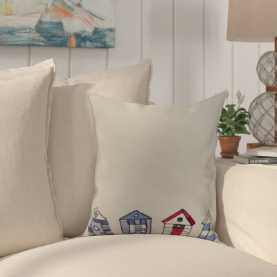 Crider Beach Huts Geometric Print Indoor/Outdoor Throw Pillow Color: Ivory, Size: 16 x 16