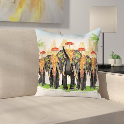 Ethnic Traditional India Ritual Cushion Pillow Cover Size: 18 x 18