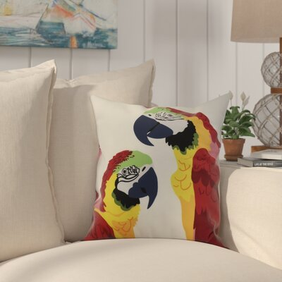 Faynett Macaw Close Up Indoor/Outdoor Throw Pillow Color: Red, Size: 18 x 18