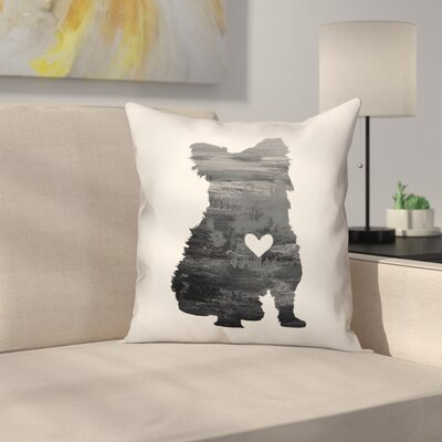 Nunlist Silhouette Yorkie Throw Pillow in , Throw Pillow Color: Black/White, Size: 16 x 16