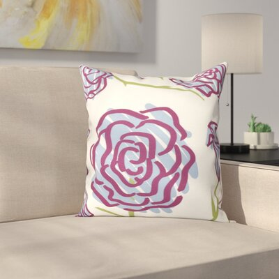 Cherry Spring Floral 1 Outdoor Throw Pillow Size: 20 H x 20 W, Color: Blue