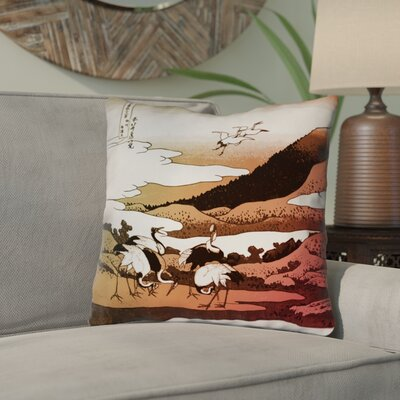 Montreal Japanese Cranes Linen Throw Pillow Size: 14 x 14 , Pillow Cover Color: Red