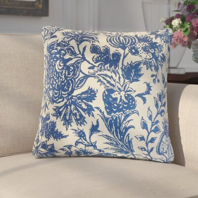 Giuseppina Floral Linen Throw Pillow Color: Blue