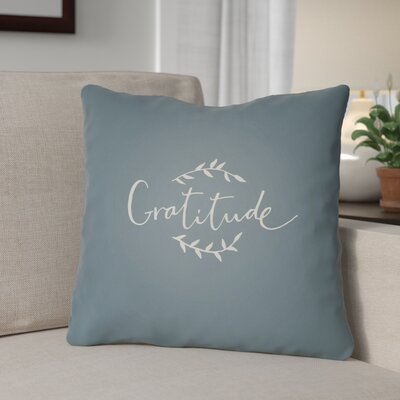 Gratitude Indoor/Outdoor Throw Pillow Size: 20 H x 20 W x 4 D, Color: Blue/White
