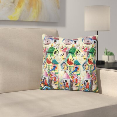 Birdhouses and Birds Tower Throw Pillow