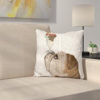 English Bulldog Ice Cream Throw Pillow