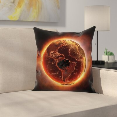 Vivid Burning Earth Heat Square Pillow Cover Size: 16 x 16