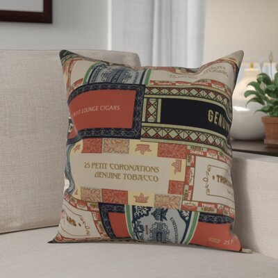 Warriner Cigar Box Collage Geometric Print Indoor/Outdoor Throw Pillow Color: Red Orange, Size: 18 x 18