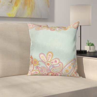 Floral Hand Drawn Retro Paisley Square Pillow Cover Size: 18 x 18